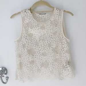 ZARA CREAM SHEER LACE TANK BLOUSE
